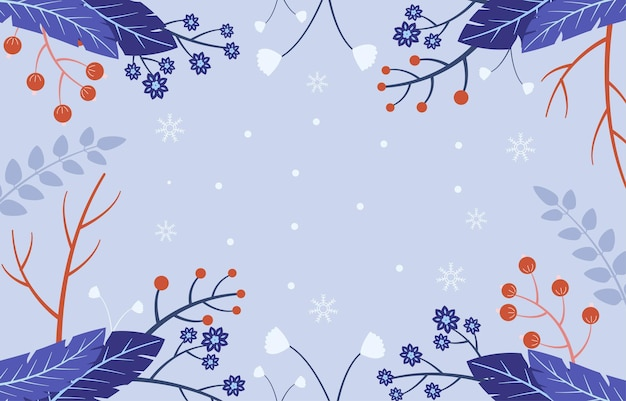 Flat design winter flowers background with empty space