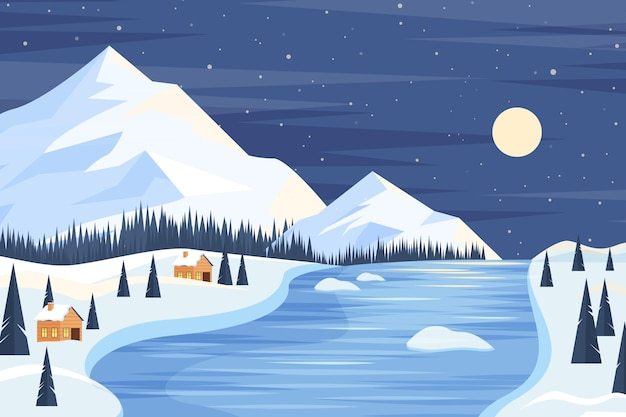 Flat design winter landscape background