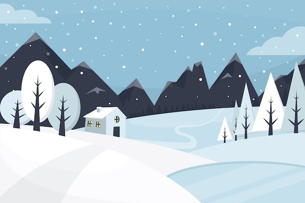 Flat design winter landscape concept