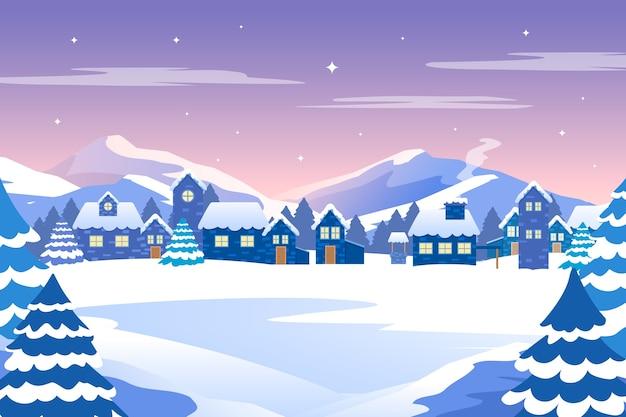 평면 디자인 겨울 풍경 개념