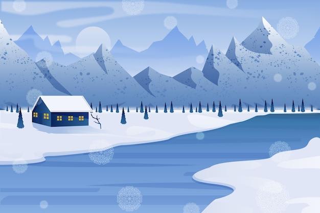 Flat design winter landscape concept