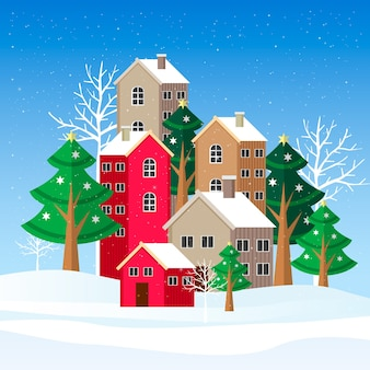 Flat design winter landscape illustration