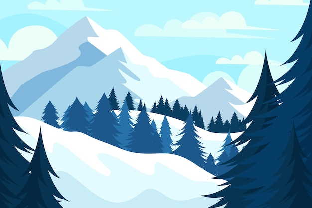 Flat design winter landscape wallpaper