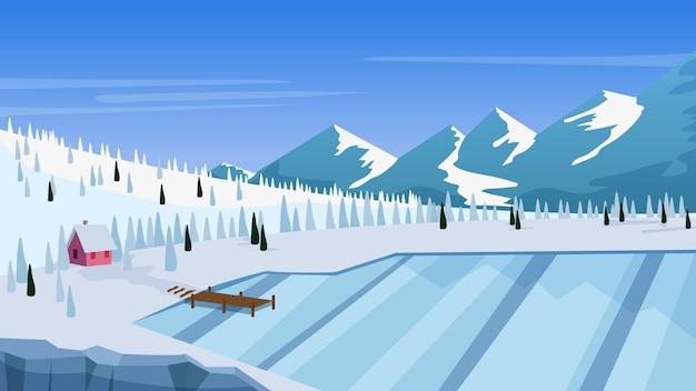 Плоский дизайн зимний пейзаж