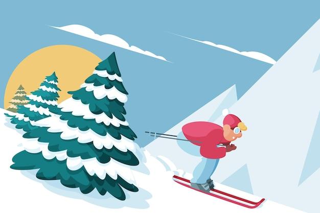 フラットなデザインの冬の風景