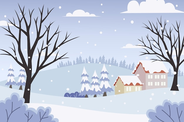 Flat design winter landscape