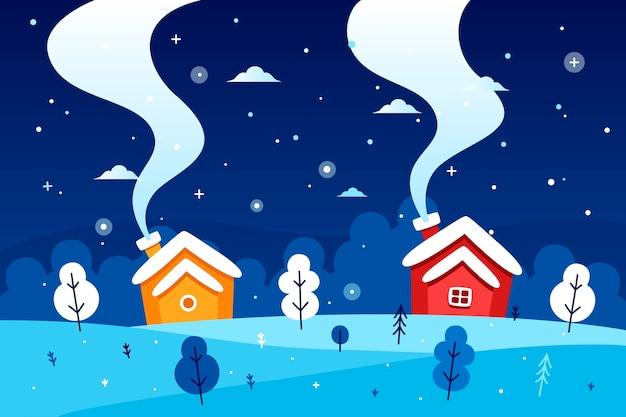 평면 디자인 겨울 풍경