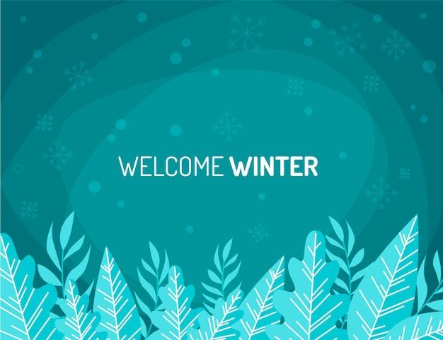 フラットなデザインの冬の葉の背景