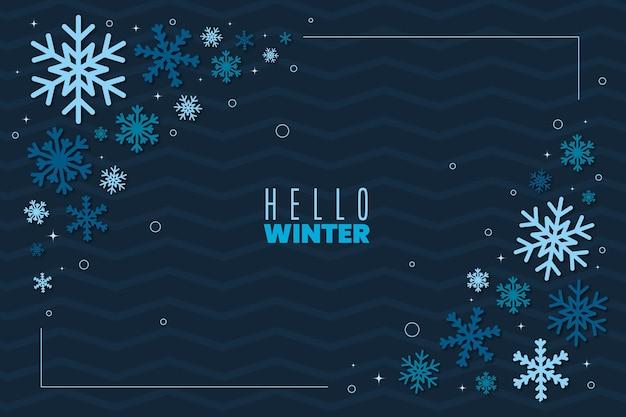 フラットなデザインの冬の葉の壁紙