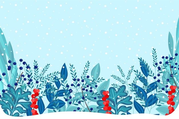 Flat design winter plants background