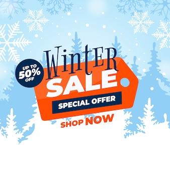 Flat design winter sale banner concept