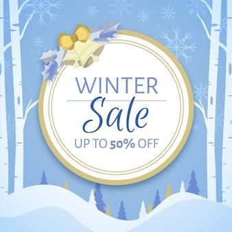 Flat design winter sale banner