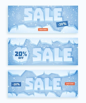 Flat design winter sale banners set