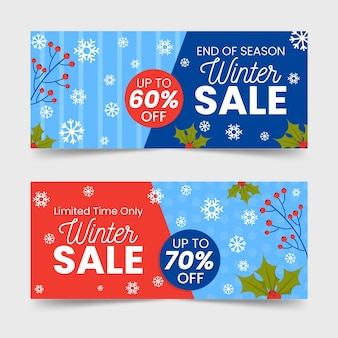 Flat design winter sale banners template