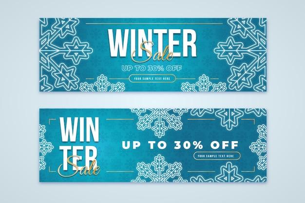 Flat design winter sale banners template