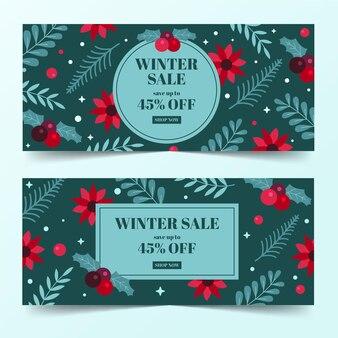 Плоский дизайн зимней распродажи баннеров