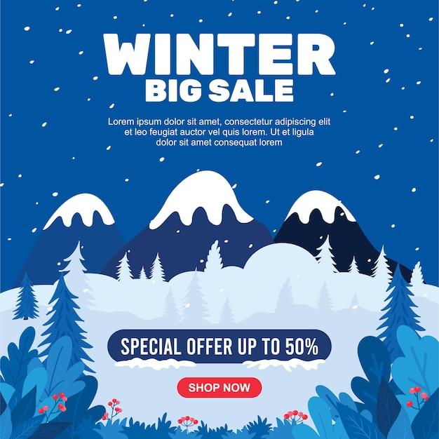 Плоский дизайн зимняя распродажа баннеры