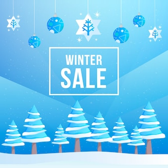 Flat design winter sale concept