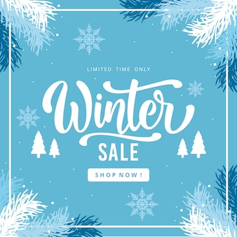 Flat design winter sale concept