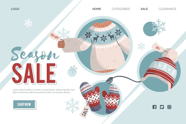 Flat design winter sale landing page
