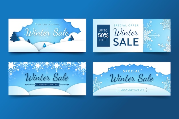 Flat design winter sale promo banner set