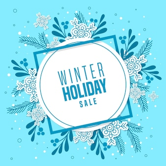 Flat design winter sale promo with frame and floral ornaments