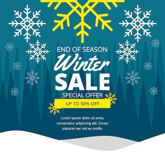 Promo di vendita invernale design piatto con offerta