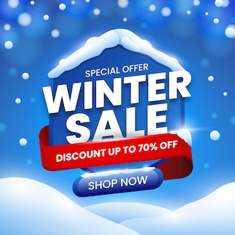 Flat design winter sale special offer promo