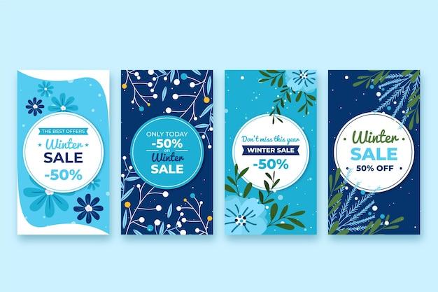 Flat design winter sale stories