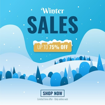 Flat design winter sale