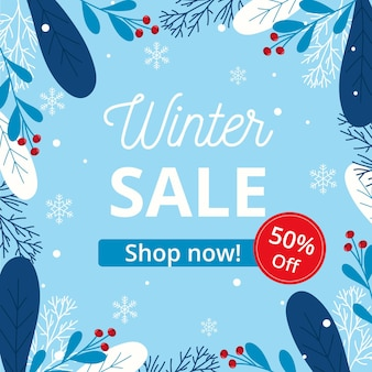 Flat design winter sales with mistletoe