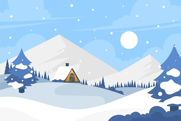 Flat design winter town landscape wallpaper