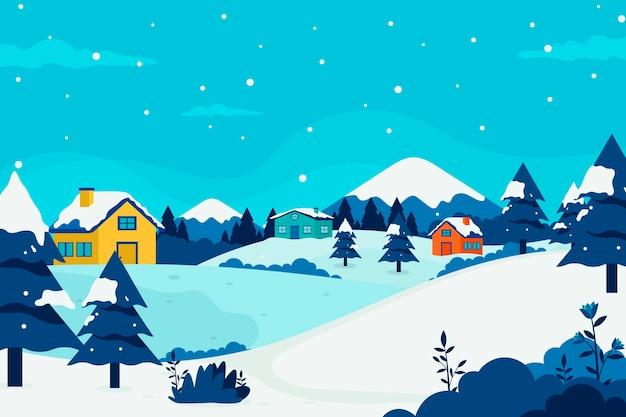 Плоский дизайн зимний деревенский пейзаж