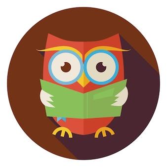 Плоский дизайн мудрость птица сова читая книгу круг значок с длинной тенью. снова в школу и образование векторные иллюстрации. плоский стиль умная красочная сова птица читает книгу