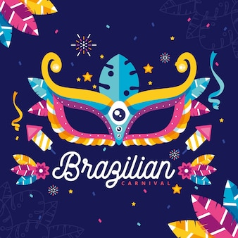 Flat design with brazilian carnival elements