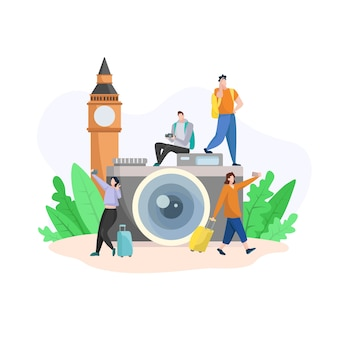 Flat design with camera and tourist selfies