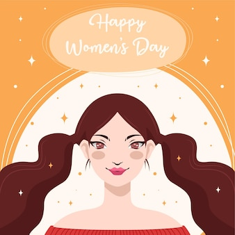 Flat design with the concept of happy women's day in hand drawing