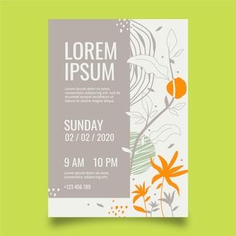 Design piatto con modello di poster floreale