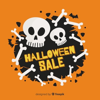 Flat design with halloween sales