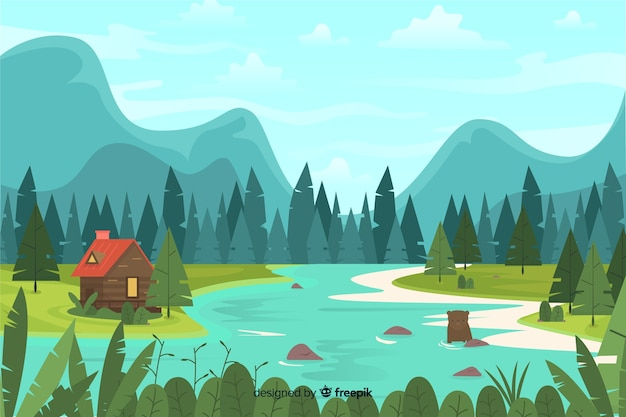 Flat design with natural landscape