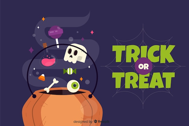 Flat design with trick or treat background