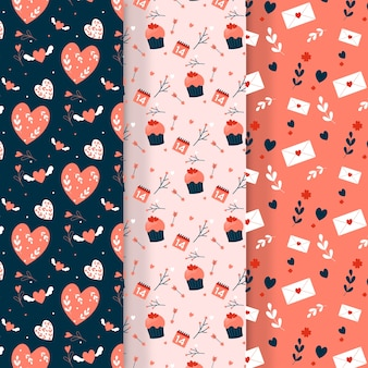 Flat design with valentines day pattern collection