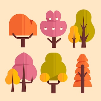 Flat design with various types of trees