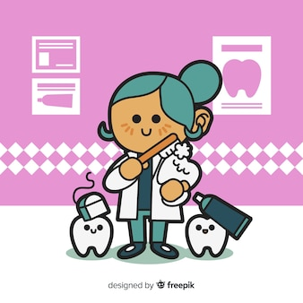 Flat design woman dentist character