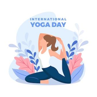 Плоский дизайн женщина делает йогу