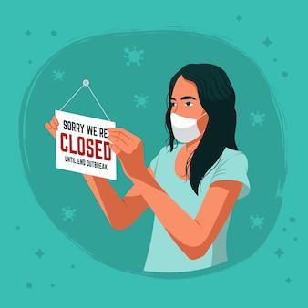 Donna di design piatto che appende un cartello chiuso