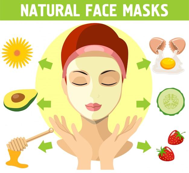 자연 마스크에 평면 디자인 여자입니다. 화장품 마스크 허브, 아보카도, 꿀, 달걀 노른자, 딸기를위한 천연 성분. 삽화
