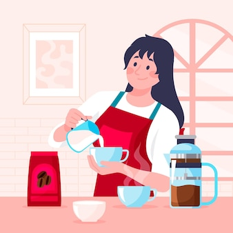 コーヒーのイラストを作るフラットなデザインの女性