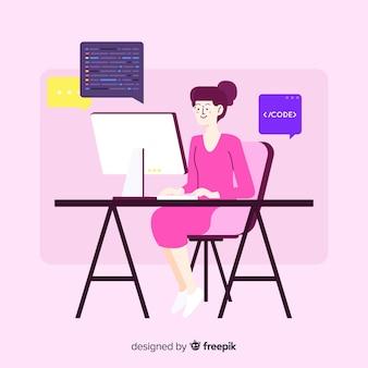 Flat design woman programmer coding