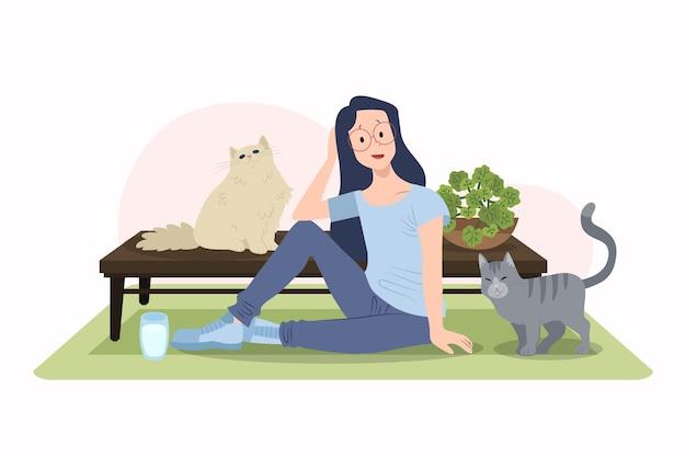 かわいい猫とフラットなデザインの女性